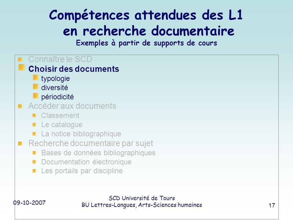 09-10-2007 SCD Université de Tours BU Lettres-Langues, Arts-Sciences humaines 17 Compétences attendues des L1 en recherche documentaire Exemples à par