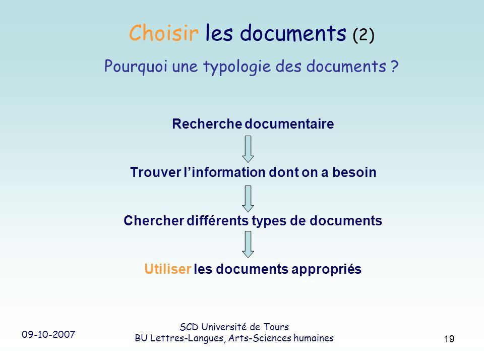 09-10-2007 SCD Université de Tours BU Lettres-Langues, Arts-Sciences humaines 19 Recherche documentaire Trouver linformation dont on a besoin Chercher