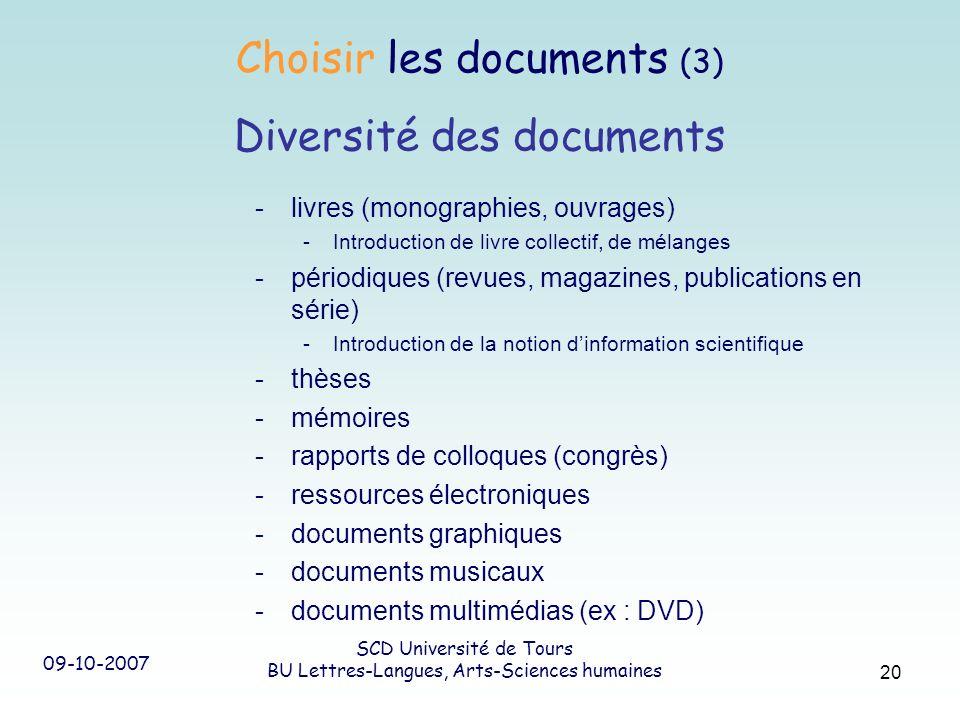 09-10-2007 SCD Université de Tours BU Lettres-Langues, Arts-Sciences humaines 20 -livres (monographies, ouvrages) -Introduction de livre collectif, de