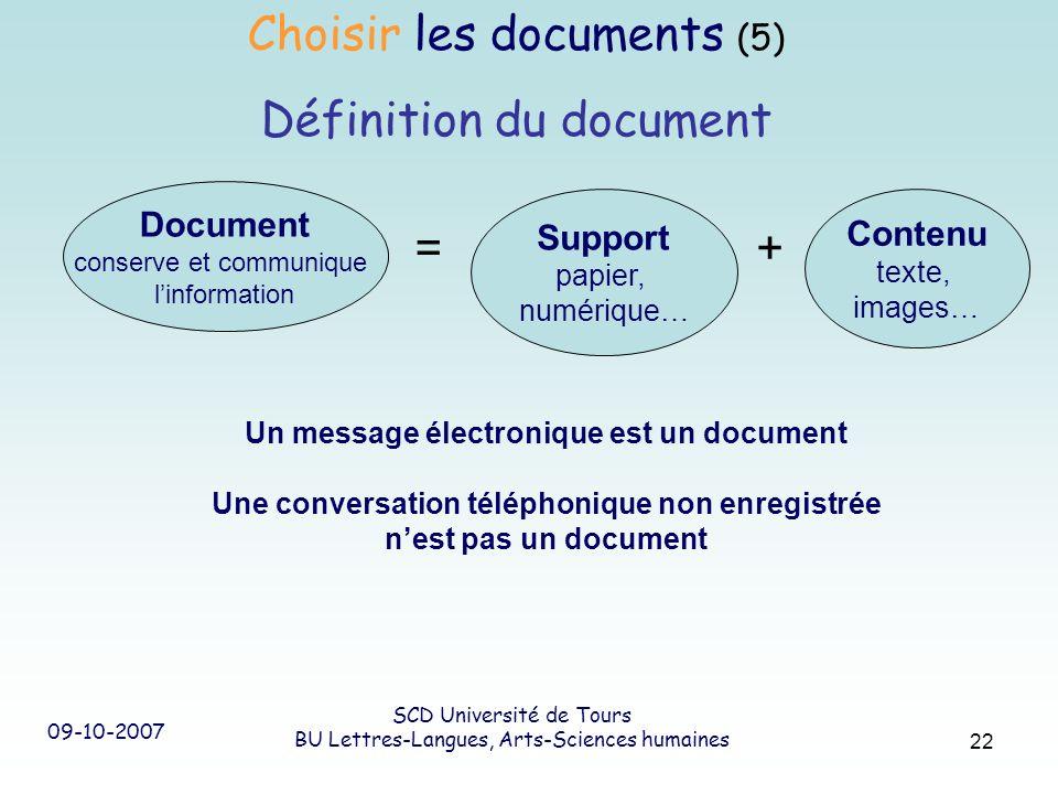 09-10-2007 SCD Université de Tours BU Lettres-Langues, Arts-Sciences humaines 22 Un message électronique est un document Une conversation téléphonique