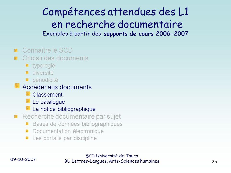 09-10-2007 SCD Université de Tours BU Lettres-Langues, Arts-Sciences humaines 25 Compétences attendues des L1 en recherche documentaire Exemples à par