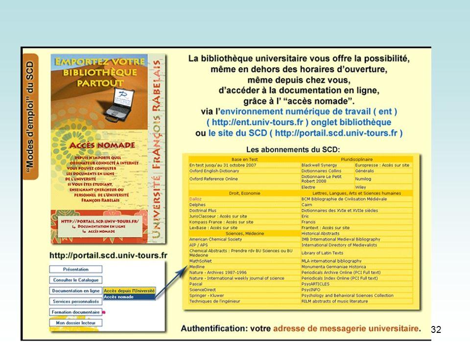 09-10-2007 SCD Université de Tours BU Lettres-Langues, Arts-Sciences humaines 32