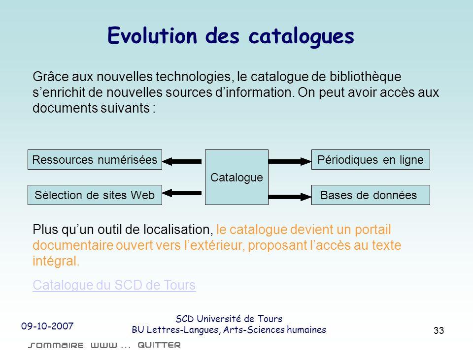 09-10-2007 SCD Université de Tours BU Lettres-Langues, Arts-Sciences humaines 33 Evolution des catalogues Grâce aux nouvelles technologies, le catalog
