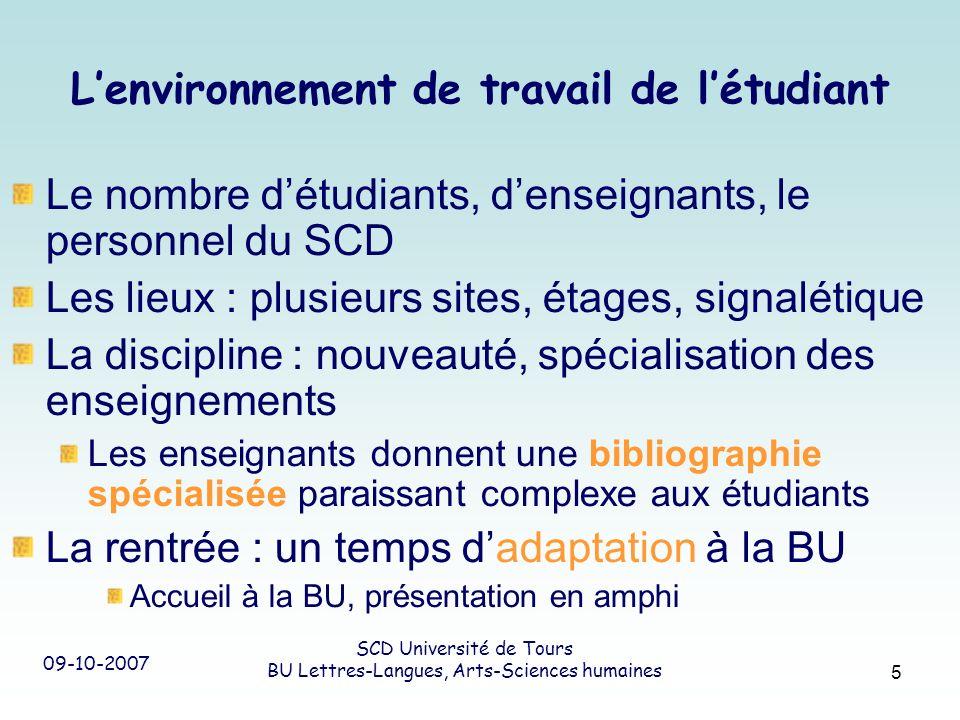 09-10-2007 SCD Université de Tours BU Lettres-Langues, Arts-Sciences humaines 5 Lenvironnement de travail de létudiant Le nombre détudiants, denseigna