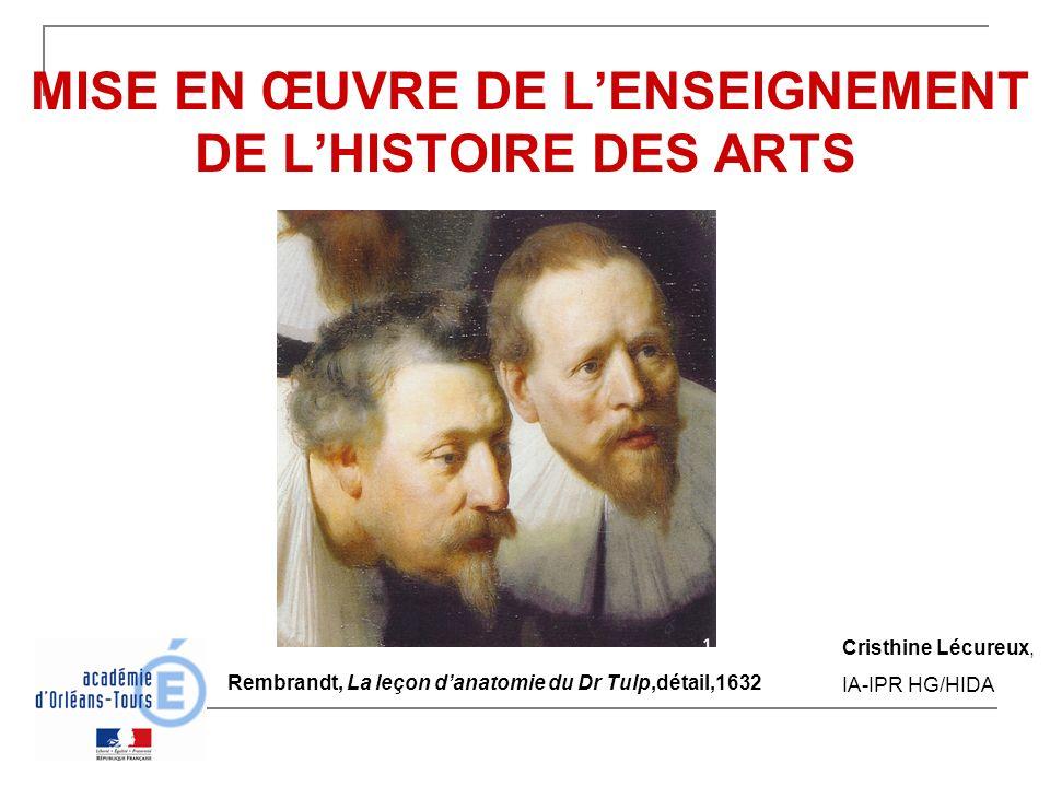 MISE EN ŒUVRE DE LENSEIGNEMENT DE LHISTOIRE DES ARTS Rembrandt, La leçon danatomie du Dr Tulp,détail,1632 Cristhine Lécureux, IA-IPR HG/HIDA