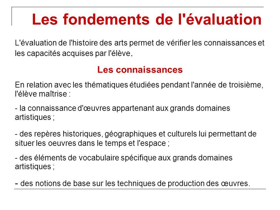 L'évaluation de l'histoire des arts permet de vérifier les connaissances et les capacités acquises par l'élève. Les connaissances En relation avec les