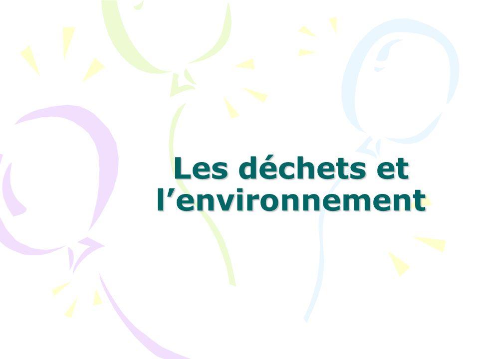 Les déchets et lenvironnement