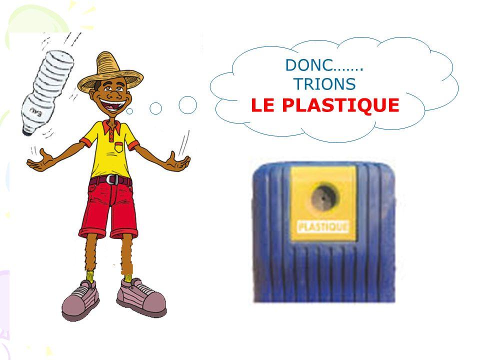 LE PLASTIQUE Bouteilles, flacons, bidons compactés (pas de bouteille dhuile, sac plastique, vaisselle jetable….) Parce que : 1)les emballages en plast