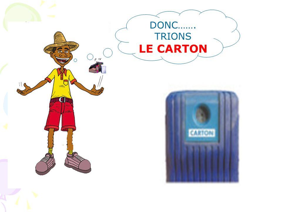 LE CARTON Boite de dentifrice, à chaussures, lait … Parce que : 1)les emballages en carton servent à présenter un grand nombre de produits 2) pour fab
