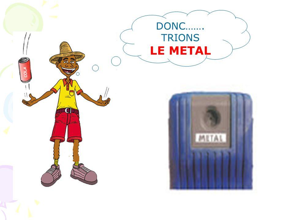 LE METAL Canettes - boite de conserves– barquettes Parce que : 1) les emballages aluminium servent à présenter un grand nombre de produits 2) dans la