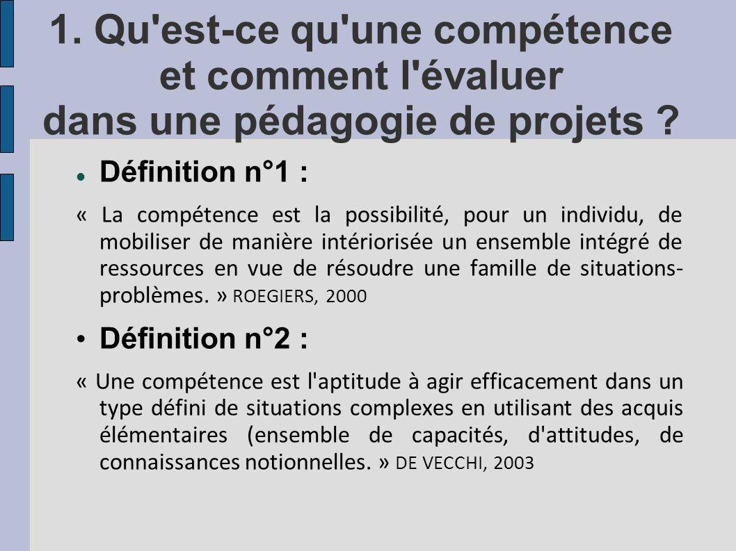 1. Qu'est-ce qu'une compétence et comment l'évaluer dans une pédagogie de projets ? Définition n°1 : « La compétence est la possibilité, pour un indiv