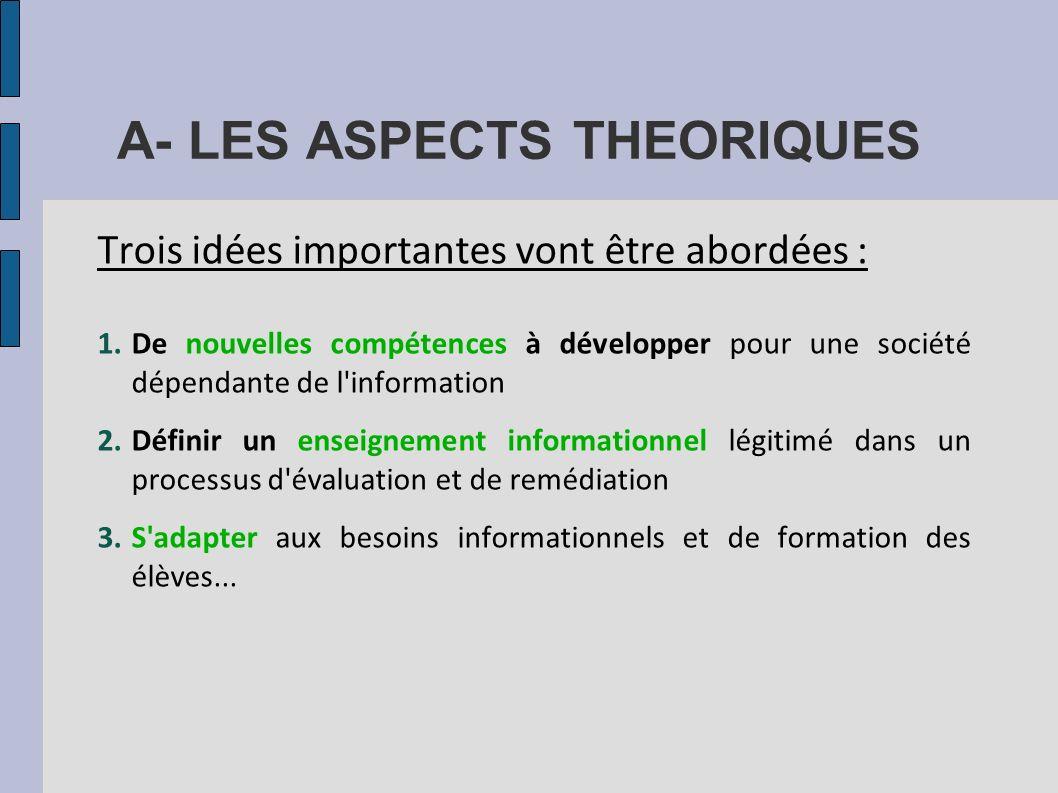 A- LES ASPECTS THEORIQUES Trois idées importantes vont être abordées : 1.De nouvelles compétences à développer pour une société dépendante de l'inform
