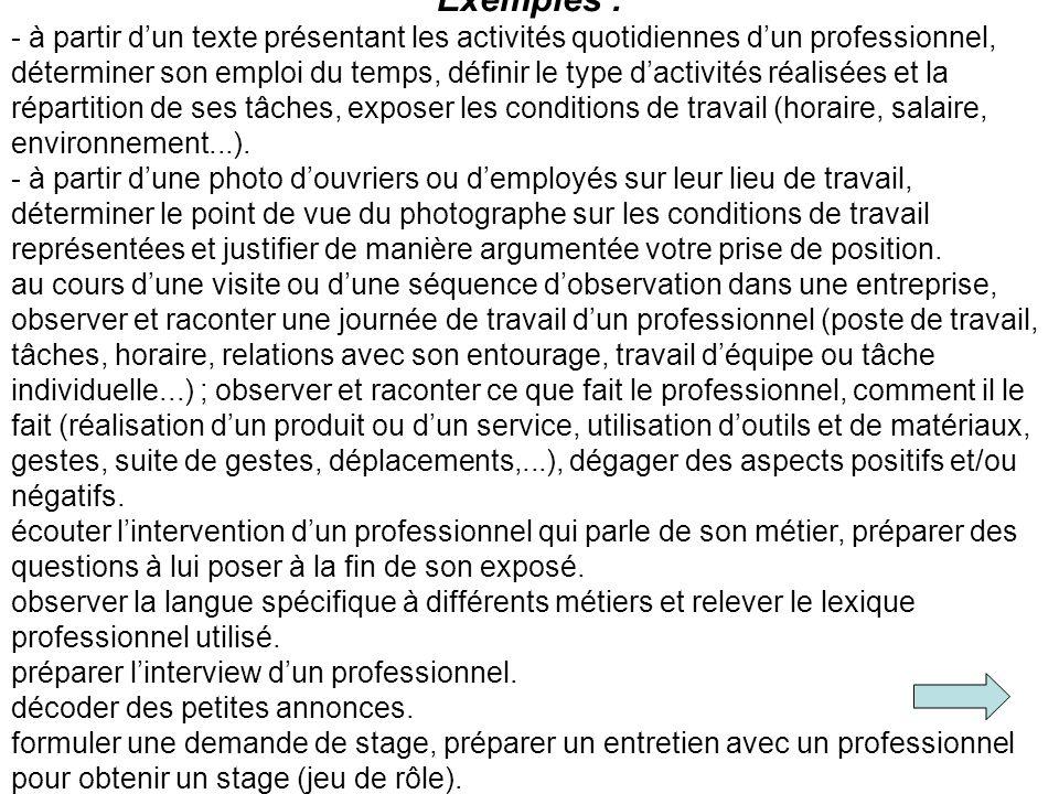 Exemples : - à partir dun texte présentant les activités quotidiennes dun professionnel, déterminer son emploi du temps, définir le type dactivités ré