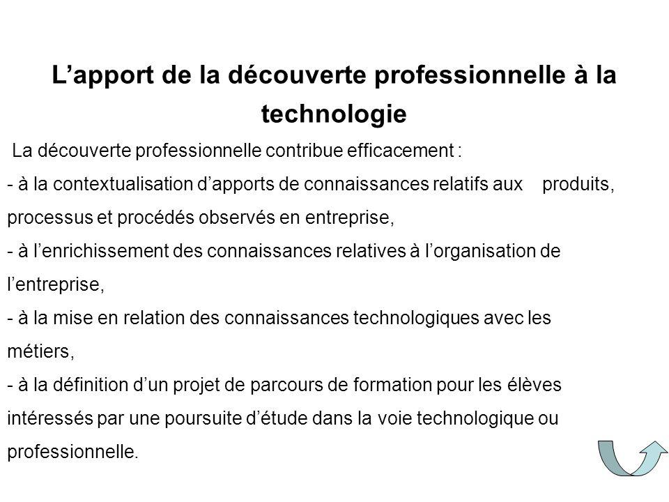 Lapport de la découverte professionnelle à la technologie La découverte professionnelle contribue efficacement : - à la contextualisation dapports de