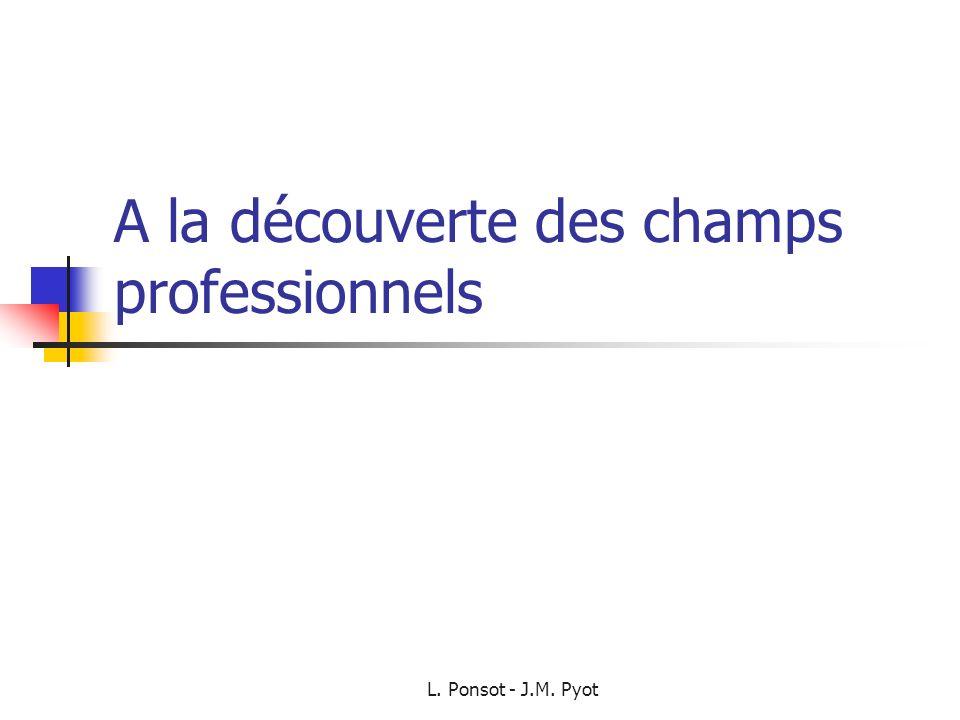 L. Ponsot - J.M. Pyot A la découverte des champs professionnels