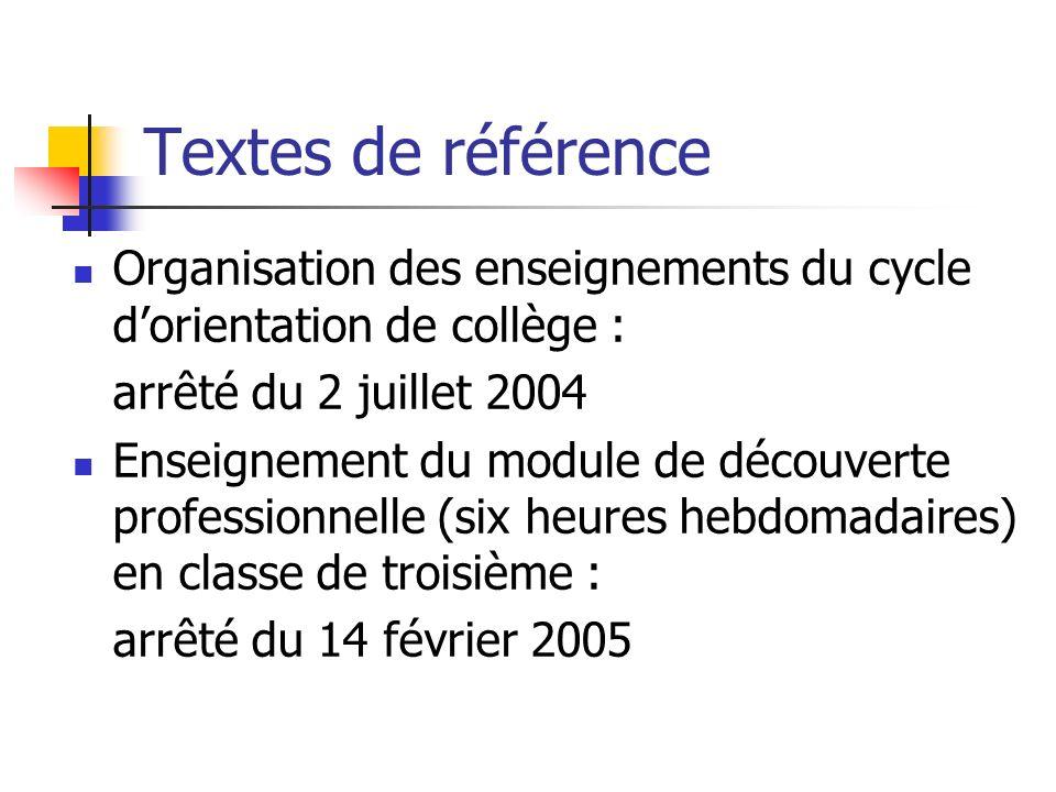 Textes de référence Organisation des enseignements du cycle dorientation de collège : arrêté du 2 juillet 2004 Enseignement du module de découverte professionnelle (six heures hebdomadaires) en classe de troisième : arrêté du 14 février 2005