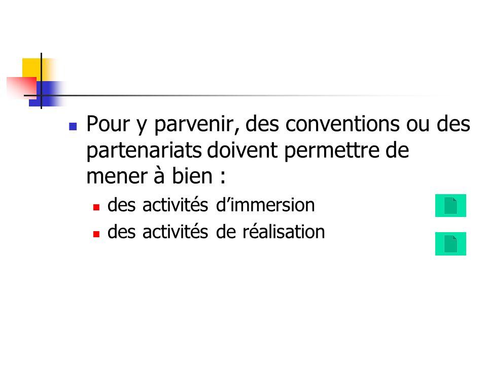 Pour y parvenir, des conventions ou des partenariats doivent permettre de mener à bien : des activités dimmersion des activités de réalisation