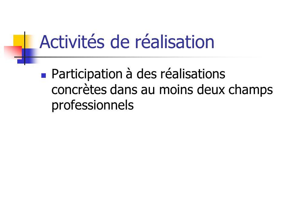 Activités de réalisation Participation à des réalisations concrètes dans au moins deux champs professionnels