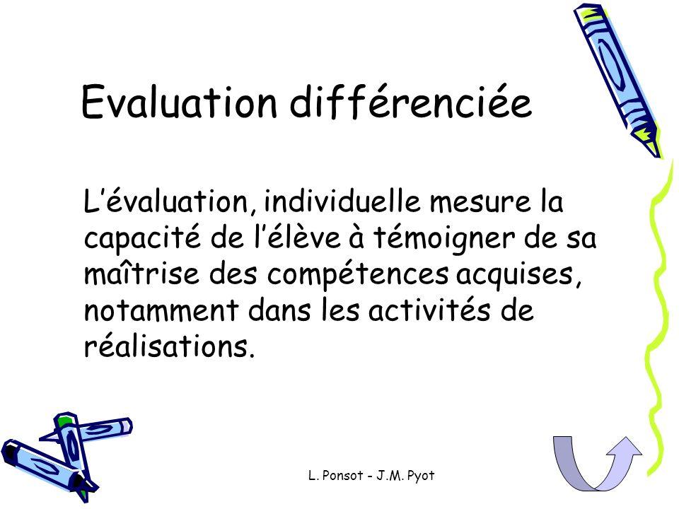 L. Ponsot - J.M. Pyot Evaluation différenciée Lévaluation, individuelle mesure la capacité de lélève à témoigner de sa maîtrise des compétences acquis