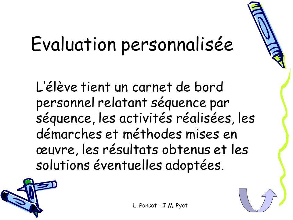L. Ponsot - J.M. Pyot Evaluation personnalisée Lélève tient un carnet de bord personnel relatant séquence par séquence, les activités réalisées, les d