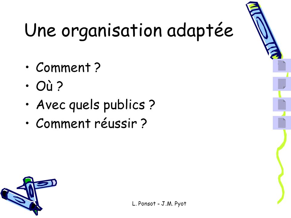 Une organisation adaptée Comment ? Où ? Avec quels publics ? Comment réussir ?