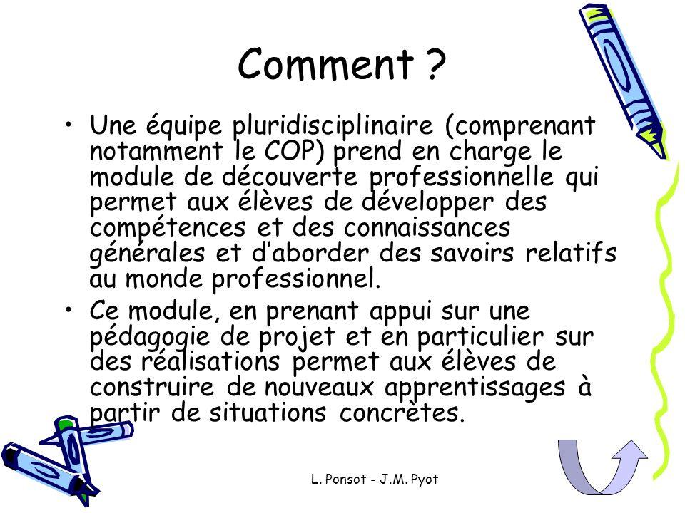 L. Ponsot - J.M. Pyot Comment ? Une équipe pluridisciplinaire (comprenant notamment le COP) prend en charge le module de découverte professionnelle qu