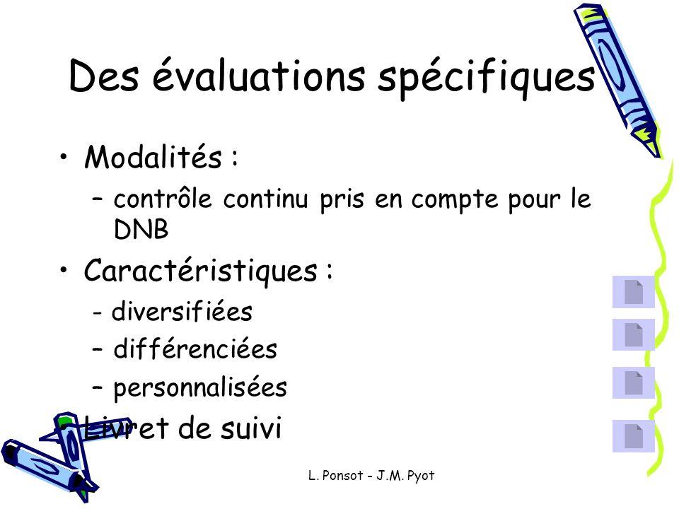 L. Ponsot - J.M. Pyot Des évaluations spécifiques Modalités : –contrôle continu pris en compte pour le DNB Caractéristiques : - diversifiées –différen