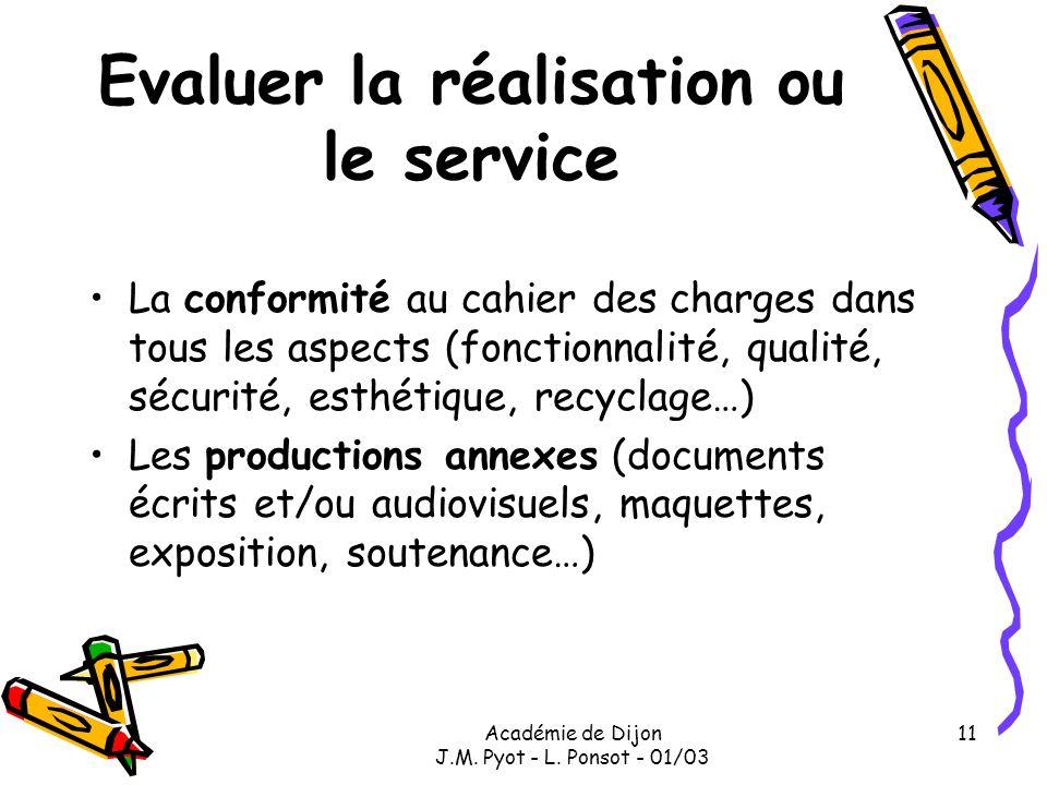 Académie de Dijon J.M. Pyot - L. Ponsot - 01/03 11 Evaluer la réalisation ou le service La conformité au cahier des charges dans tous les aspects (fon