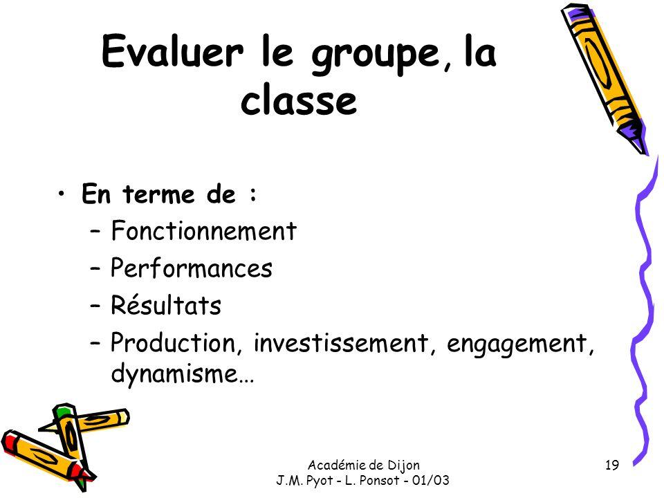 Académie de Dijon J.M. Pyot - L. Ponsot - 01/03 19 Evaluer le groupe, la classe En terme de : –Fonctionnement –Performances –Résultats –Production, in
