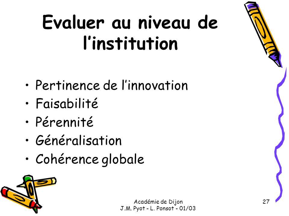 Académie de Dijon J.M. Pyot - L. Ponsot - 01/03 27 Evaluer au niveau de linstitution Pertinence de linnovation Faisabilité Pérennité Généralisation Co
