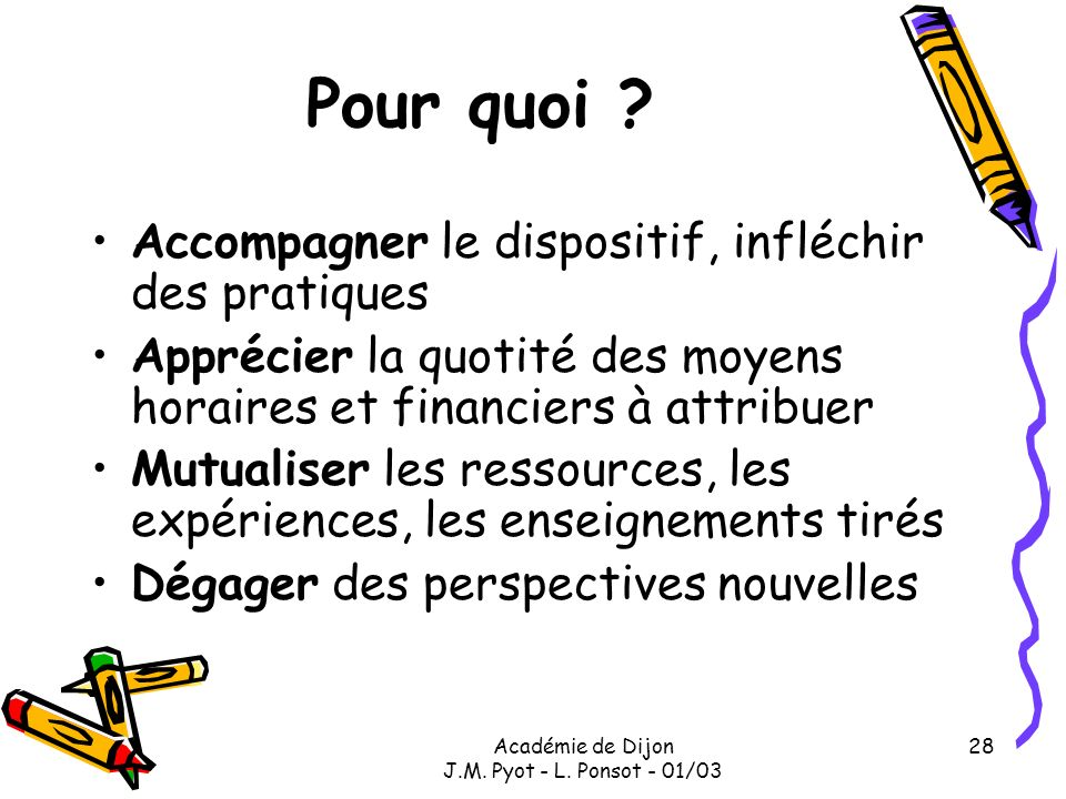 Académie de Dijon J.M. Pyot - L. Ponsot - 01/03 28 Pour quoi ? Accompagner le dispositif, infléchir des pratiques Apprécier la quotité des moyens hora