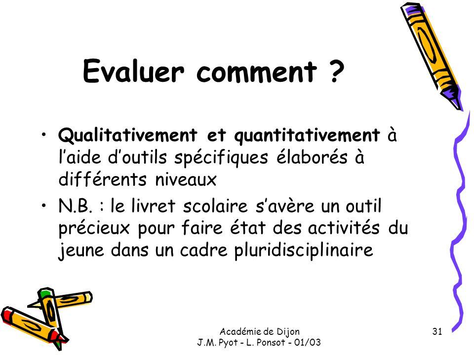 Académie de Dijon J.M. Pyot - L. Ponsot - 01/03 31 Evaluer comment ? Qualitativement et quantitativement à laide doutils spécifiques élaborés à différ