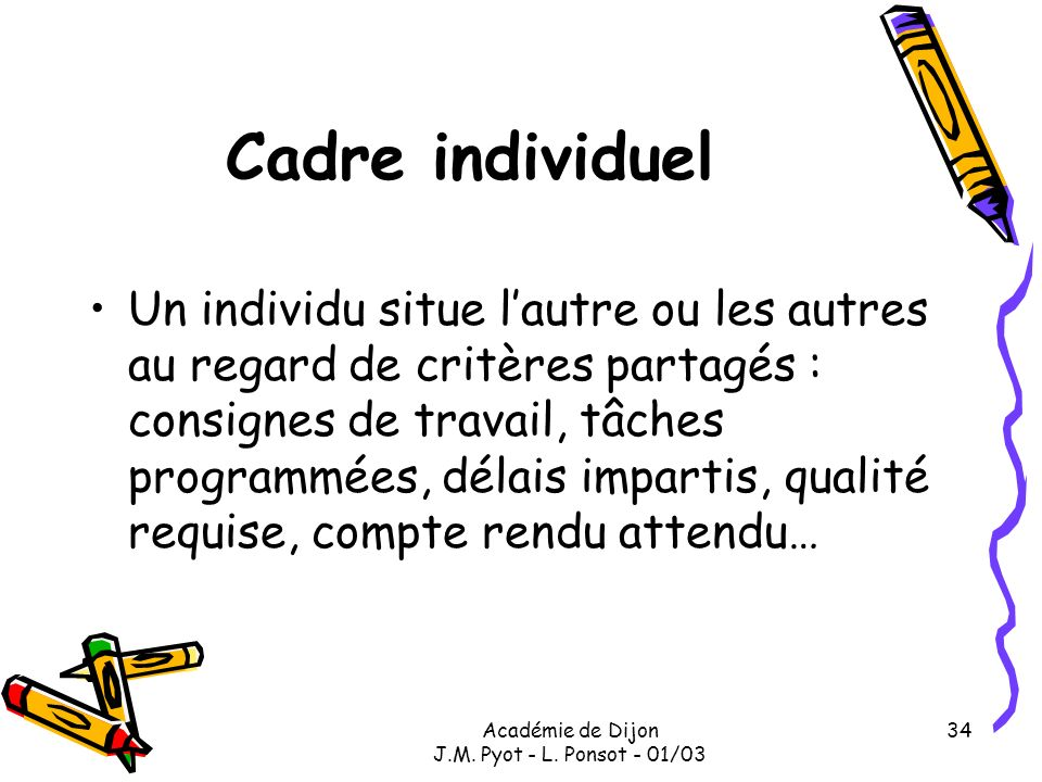 Académie de Dijon J.M. Pyot - L. Ponsot - 01/03 34 Cadre individuel Un individu situe lautre ou les autres au regard de critères partagés : consignes