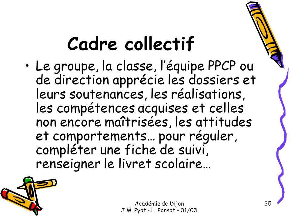 Académie de Dijon J.M. Pyot - L. Ponsot - 01/03 35 Cadre collectif Le groupe, la classe, léquipe PPCP ou de direction apprécie les dossiers et leurs s