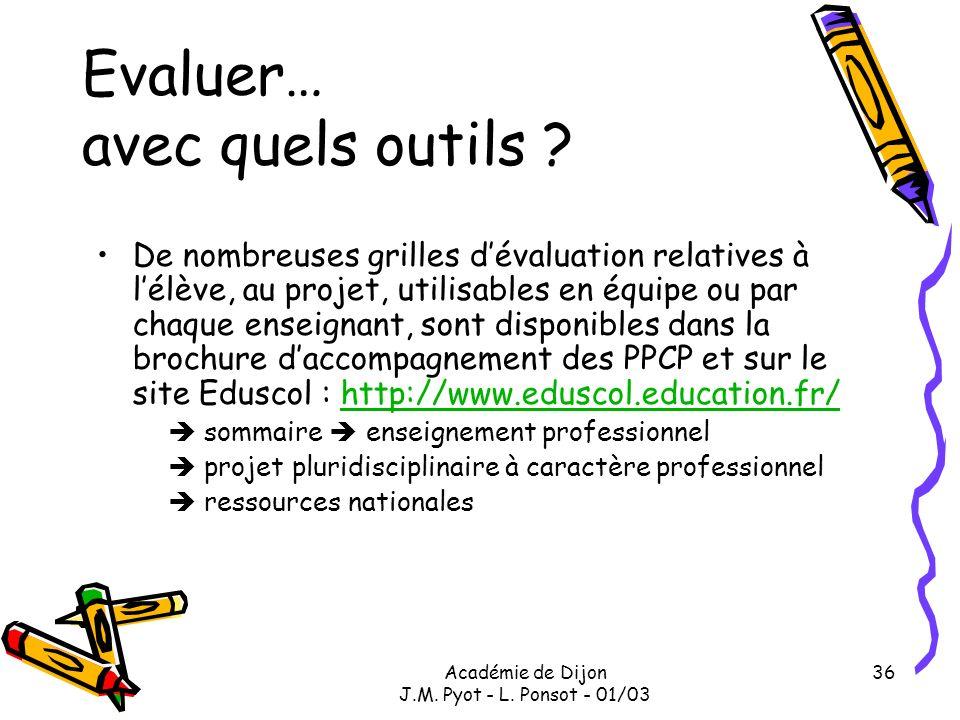 Académie de Dijon J.M. Pyot - L. Ponsot - 01/03 36 Evaluer… avec quels outils ? De nombreuses grilles dévaluation relatives à lélève, au projet, utili