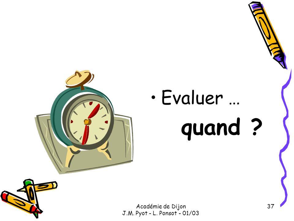 Académie de Dijon J.M. Pyot - L. Ponsot - 01/03 37 Evaluer … quand ?