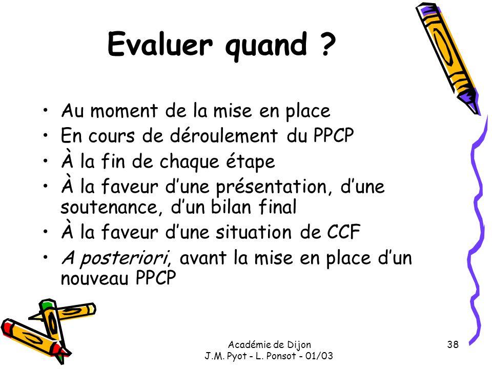 Académie de Dijon J.M. Pyot - L. Ponsot - 01/03 38 Evaluer quand ? Au moment de la mise en place En cours de déroulement du PPCP À la fin de chaque ét