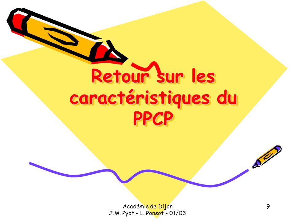 Académie de Dijon J.M. Pyot - L. Ponsot - 01/03 9 Retour sur les caractéristiques du PPCP