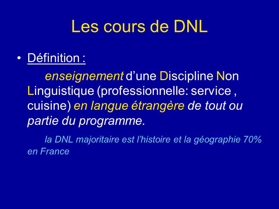 Les cours de DNL Définition : enseignement dune Discipline Non Linguistique (professionnelle: service, cuisine) en langue étrangère de tout ou partie