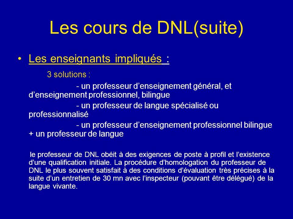 Les cours de DNL(suite) Les enseignants impliqués : 3 solutions : - un professeur denseignement général, et denseignement professionnel, bilingue - un