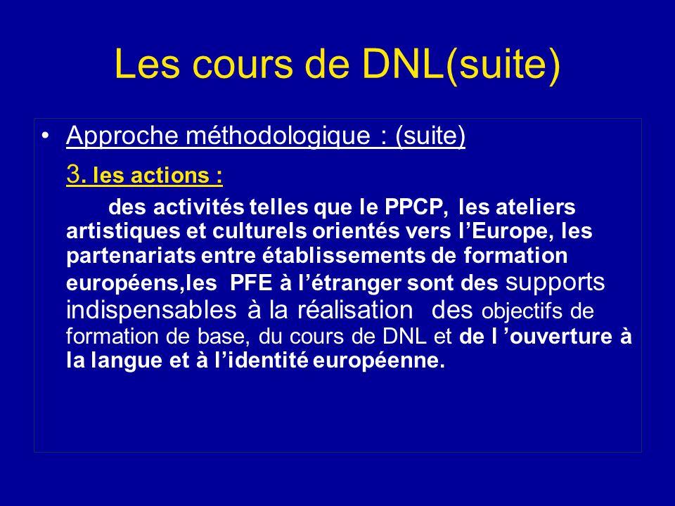 Les cours de DNL(suite) Approche méthodologique : (suite) 3. les actions : des activités telles que le PPCP, les ateliers artistiques et culturels ori