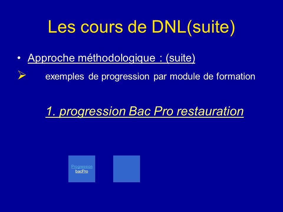 Les cours de DNL(suite) Approche méthodologique : (suite) e xemples de progression par module de formation 1. progression Bac Pro restauration Progres