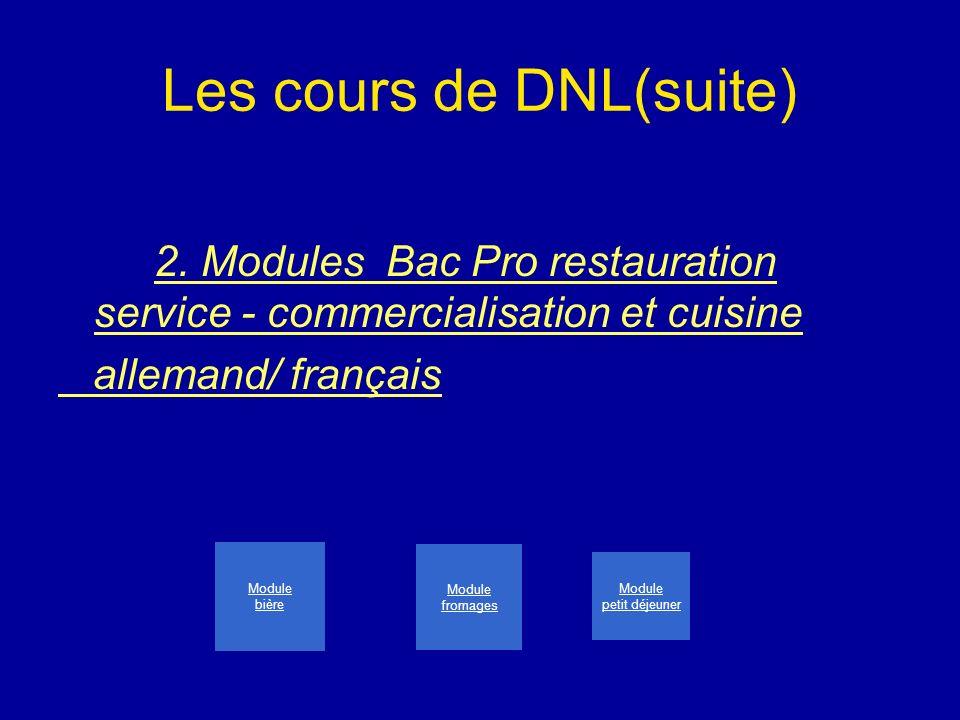 Les cours de DNL(suite) 2. Modules Bac Pro restauration service - commercialisation et cuisine allemand/ français Module bière Module fromages Module