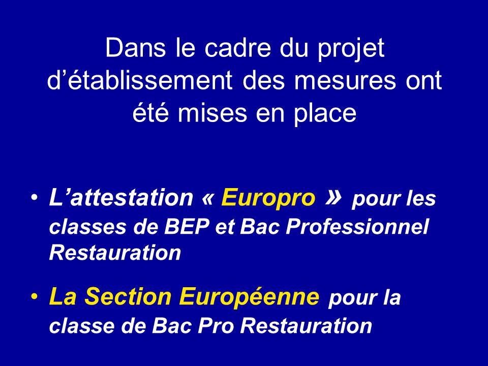 Dans le cadre du projet détablissement des mesures ont été mises en place Lattestation « Europro » pour les classes de BEP et Bac Professionnel Restau
