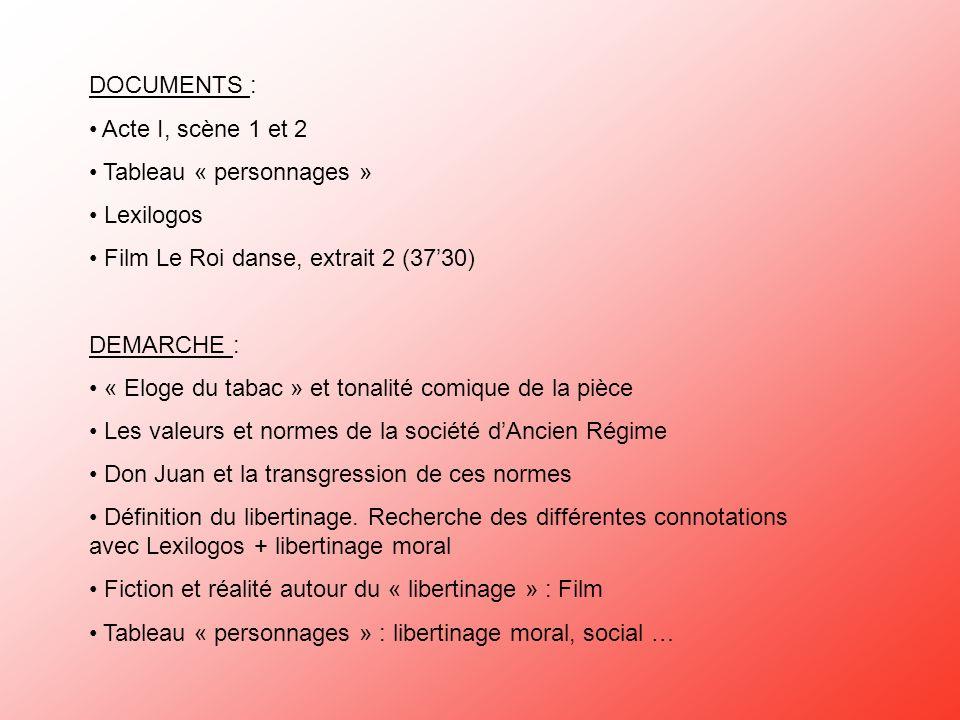 DOCUMENTS : Acte I, scène 1 et 2 Tableau « personnages » Lexilogos Film Le Roi danse, extrait 2 (3730) DEMARCHE : « Eloge du tabac » et tonalité comiq
