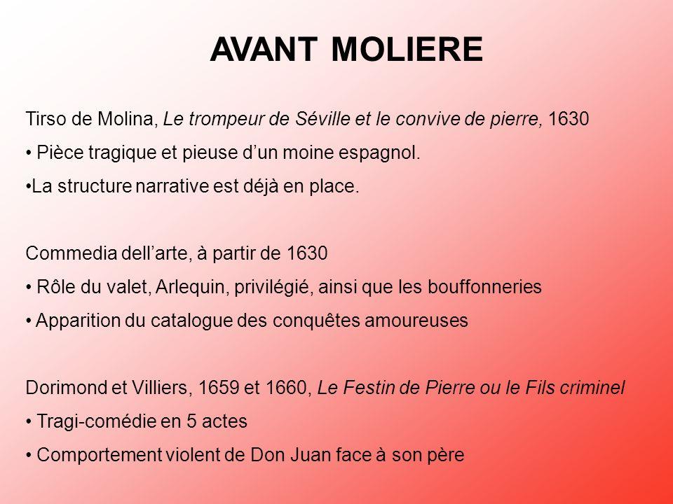 AVANT MOLIERE Tirso de Molina, Le trompeur de Séville et le convive de pierre, 1630 Pièce tragique et pieuse dun moine espagnol. La structure narrativ