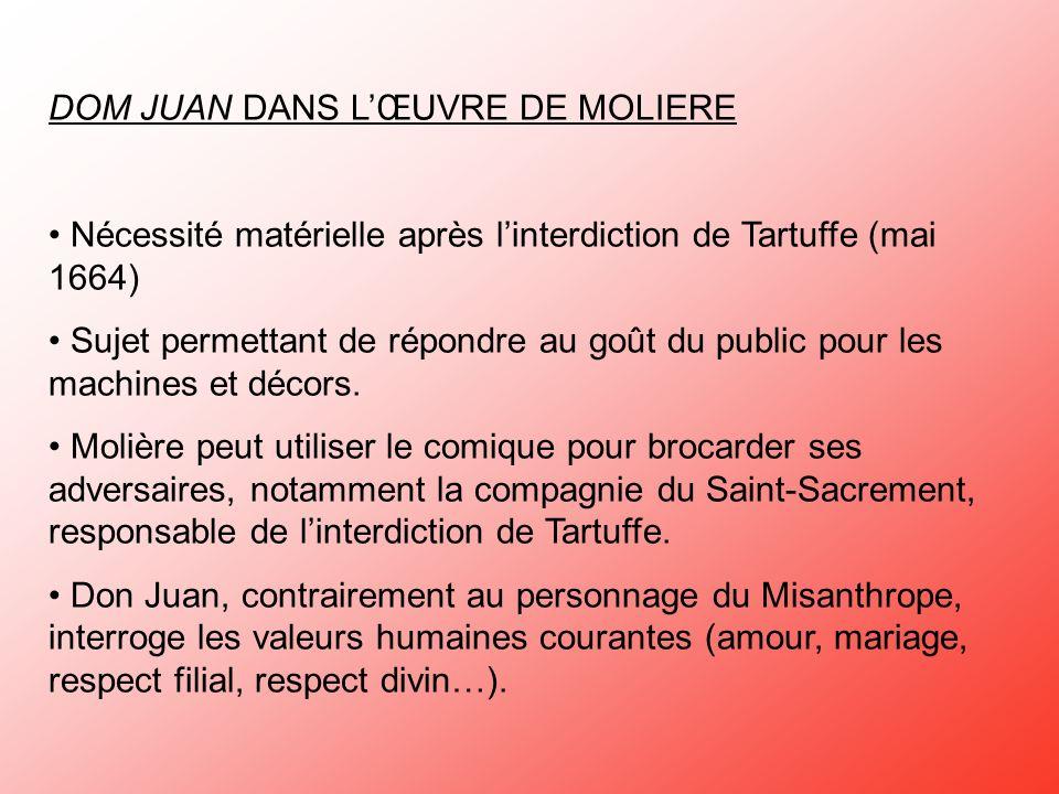 DOM JUAN DANS LŒUVRE DE MOLIERE Nécessité matérielle après linterdiction de Tartuffe (mai 1664) Sujet permettant de répondre au goût du public pour le