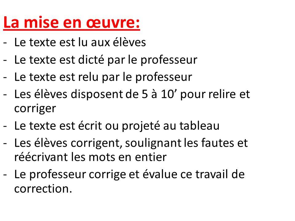 La mise en œuvre: -Le texte est lu aux élèves -Le texte est dicté par le professeur -Le texte est relu par le professeur -Les élèves disposent de 5 à