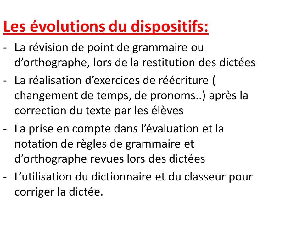 Les évolutions du dispositifs: -La révision de point de grammaire ou dorthographe, lors de la restitution des dictées -La réalisation dexercices de ré