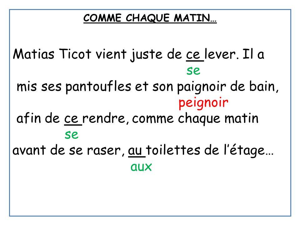 COMME CHAQUE MATIN… Matias Ticot vient juste de ce lever. Il a se mis ses pantoufles et son paignoir de bain, peignoir afin de ce rendre, comme chaque